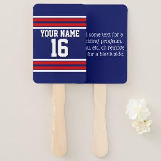 DIY BG Navy Red Team Jersey Custom Number Name Hand Fan