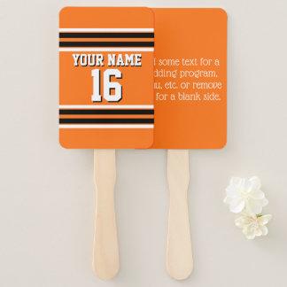 DIY BG Orange Black Team Jersey Number Name Hand Fan
