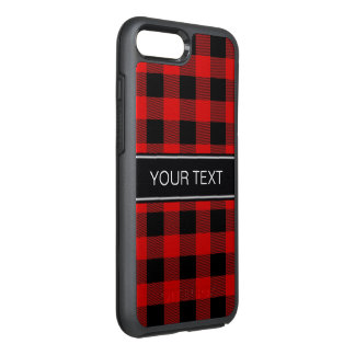 DIY BG Red Black Buffalo Plaid Name Monogram OtterBox Symmetry iPhone 8 Plus/7 Plus Case