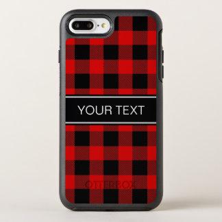 DIY BG Red Black Buffalo Plaid Name Monogram OtterBox Symmetry iPhone 8 Plus/7 Plus Case