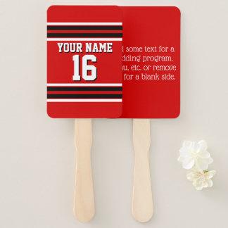 DIY BG Red Black Team Jersey Custom Number Name Hand Fan