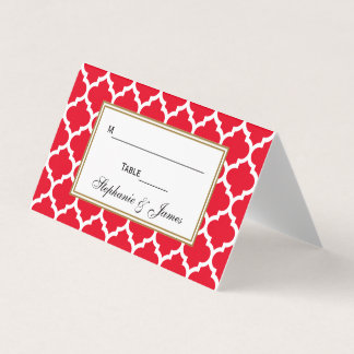 DIY BG Red Moroccan Quatrefoil Place Escort Cards