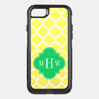DIY BG Wht Moroccan #5 Em Green 3 Initial Monogram OtterBox Commuter iPhone 7 Case