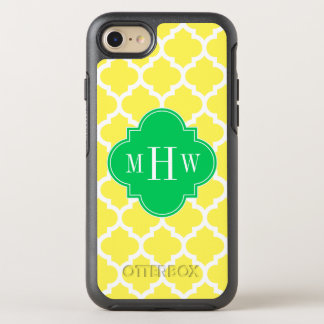 DIY BG Wht Moroccan #5 Em Green 3 Initial Monogram OtterBox Symmetry iPhone 8/7 Case