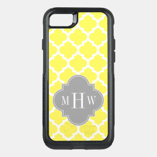 DIY BG Wht Moroccan #5 Gray 3 Initial Monogram OtterBox Commuter iPhone 7 Case