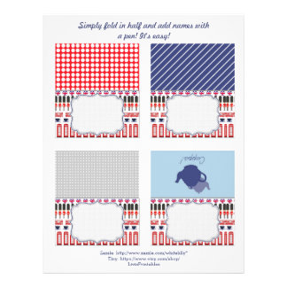 DIY Chic British themed Party Name Cards Customized Letterhead