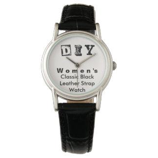 DIY - Classic Black Leather Strap Watch / Women's
