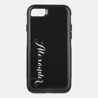 DIY Color Background, Name Monogram Black OtterBox Commuter iPhone 7 Case