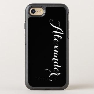 DIY Color Background, Name Monogram Black OtterBox Symmetry iPhone 7 Case