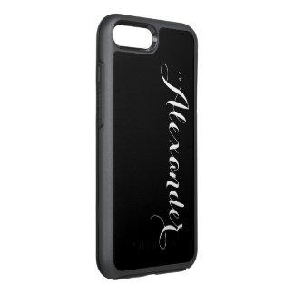 DIY Color Background, Name Monogram Black OtterBox Symmetry iPhone 7 Plus Case