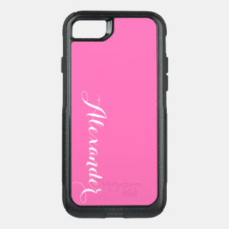 DIY Color Background, Name Monogram Hot Pink OtterBox Commuter iPhone 8/7 Case