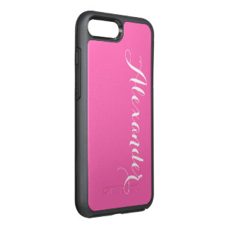 DIY Color Background, Name Monogram Hot Pink OtterBox Symmetry iPhone 8 Plus/7 Plus Case