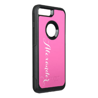 DIY Color Background, Name Monogram NB Hot Pink OtterBox Commuter iPhone 8 Plus/7 Plus Case