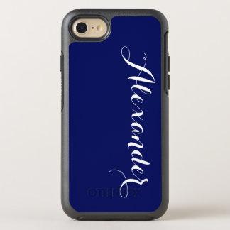 DIY Color Background, Name Monogram NB Navy Blue OtterBox Symmetry iPhone 7 Case