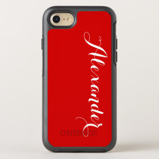 DIY Color Background, Name Monogram Red OtterBox Symmetry iPhone 7 Case