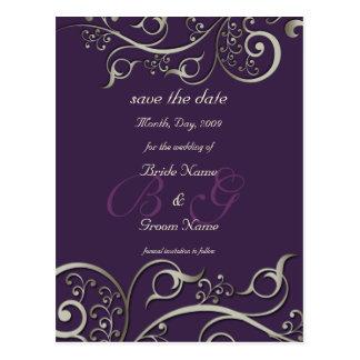 diy color, save the date, monogram silver swirls postcard