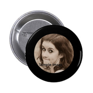 DIY Create Your Own Black Personalized Photo Frame Button