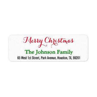 DIY Custom Elegant Merry Christmas Return Address