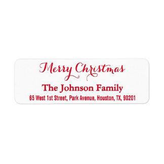 DIY Custom Merry Christmas Elegant Return Address