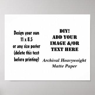 DIY Custom Size Archival Heavyweight Matte Paper Poster