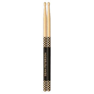 DIY Design Your Own Black Checks Custom Name V03 Drum Sticks