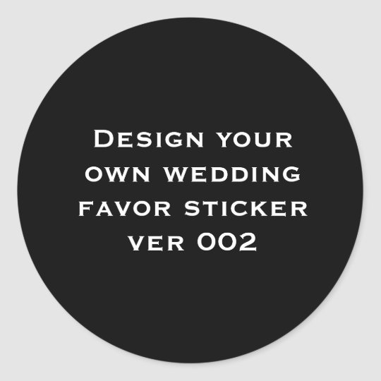 DIY Design Your Own Custom Colour Wedding V02 Classic Round Sticker