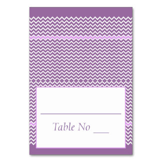 DIY Fold Tented Place Cards Chevron Purple