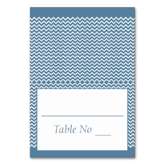 DIY Fold Tented Place Cards Chevron Sea Blue