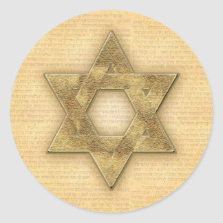 DIY Gold Star of David / Bar Mitzvah template Classic Round Sticker