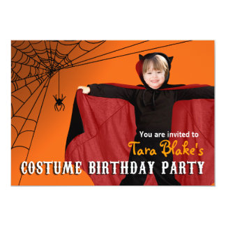 DIY Kids Halloween Costume Photo Birthday Party Card