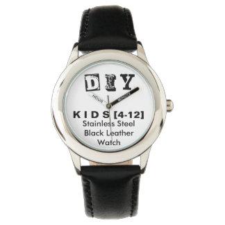 DIY - Kid's Stainless Steel Black Leather Watch