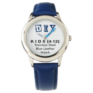 DIY - Kid's Stainless Steel Blue Leather Watch