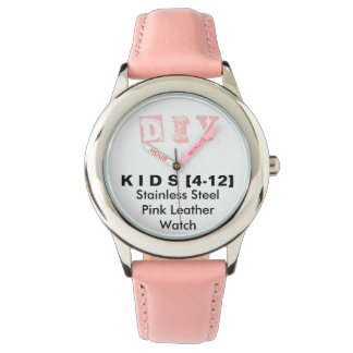 DIY - Kid's Stainless Steel Pink Leather Watch