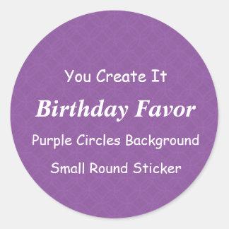 DIY Make It Yourself Purple Grunge Birthday Favor Round Sticker