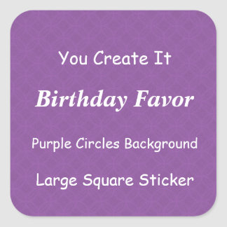 DIY Make It Yourself Purple Grunge Birthday Favor Square Sticker