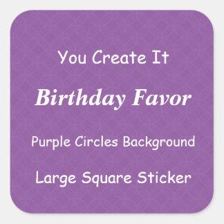 DIY Make It Yourself Purple Grunge Birthday Favor Square Sticker