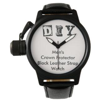 DIY - Men's Crown Protector Black Leather Watch