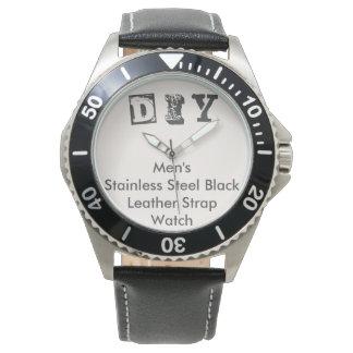 DIY - Men's Stainless Steel Black Leather Watch