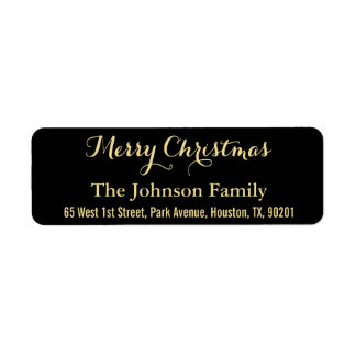 DIY Merry Christmas Faux Gold Black Return Address