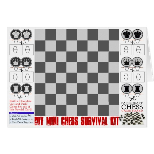 DIY Mini Chess Survival Kit Papercraft Card