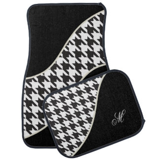 DIY Monogram Black and White Houndstooth Pattern Car Mat
