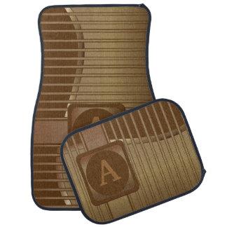 DIY Monogram | Bronze and Brown Striped Car Mat