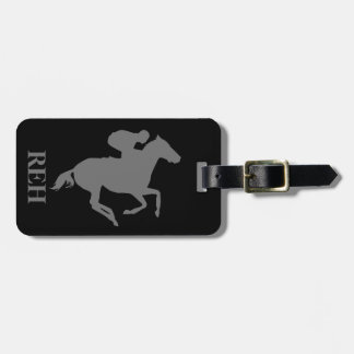 DIY Monogram Gray Race Horse on Any Color Luggage Tag