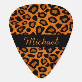 Diy Name - Orange And Black Leopard Pattern Pick