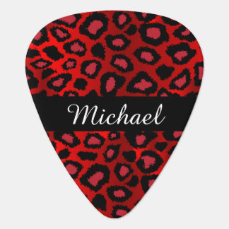 Diy Name - Red And Black Leopard Pattern Guitar Pick