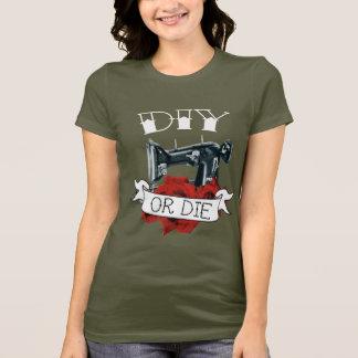 DIY or Die Sewing Machine Tattoo Ladies Shirt Army
