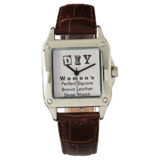 DIY - Perfect Square Brown Leather Strap Women's Watch