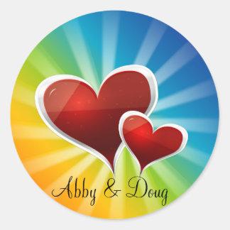 diy Rainbow hearts Classic Round Sticker