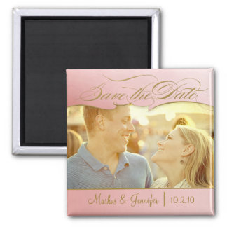 DIY Rose and Gold Photo Save the Date Magnet