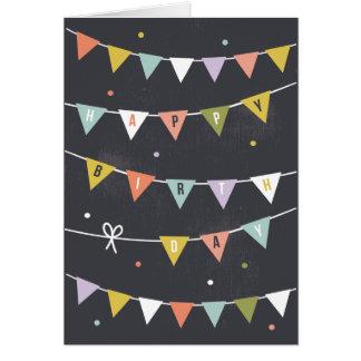 DIY Rustic Chalkboard Birthday bunting lined Card